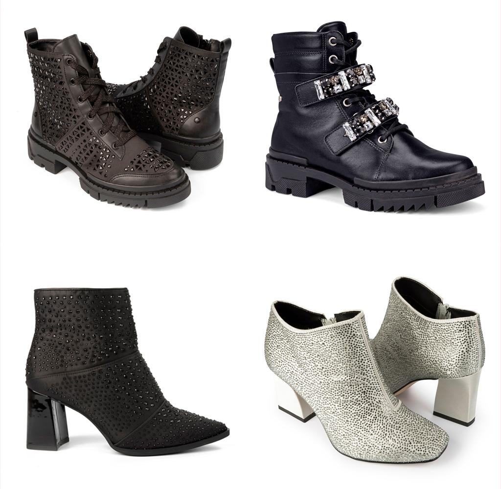 Botas Tanara ankel boots com brilhos e pedrarias