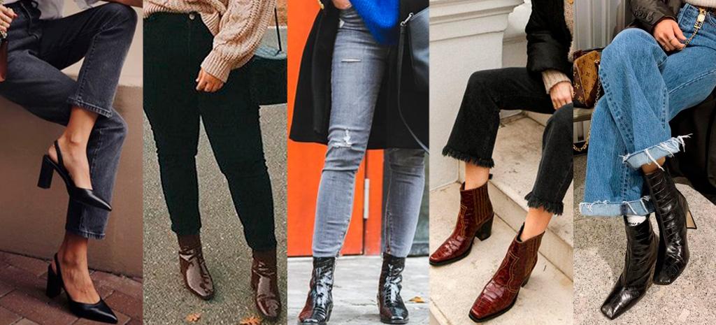 Croco combinada com lavagens diferentes de jeans