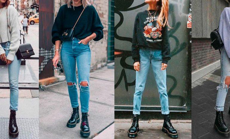 looks coturno, calça jeans e moletom