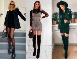 vestidos com botas e coturnos