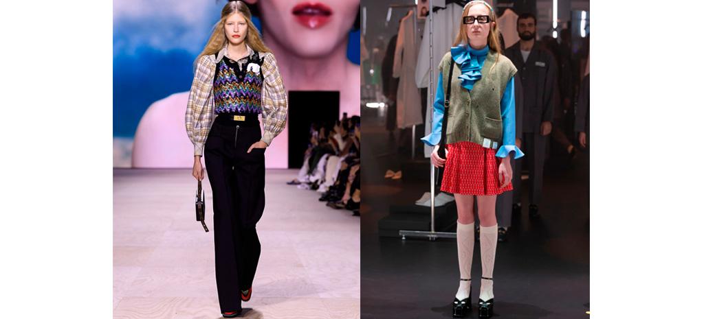 Louis Vuitton primavera verão 2020 e Gucci inverno 2020