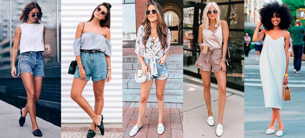 Shorts e vestidos com mule