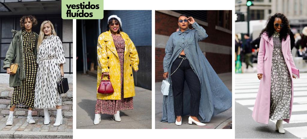 Truques de estilo com vestidos fluídos em looks de inverno